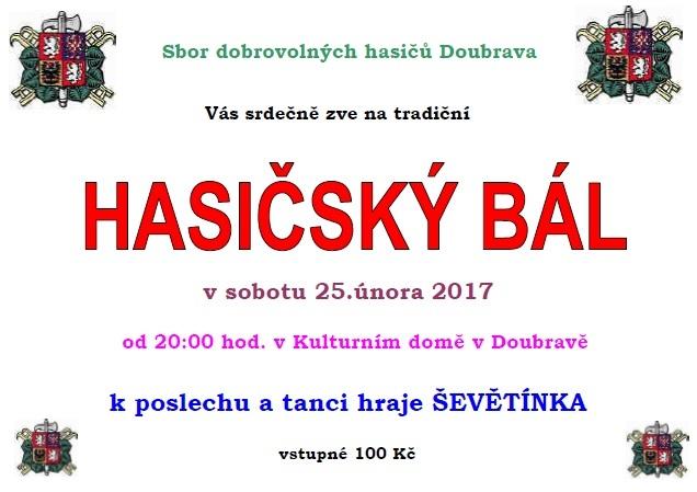 Hasičský ples 2017 v Doubravě